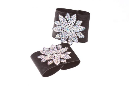 Diamond & Crystal Buckles Black Flower