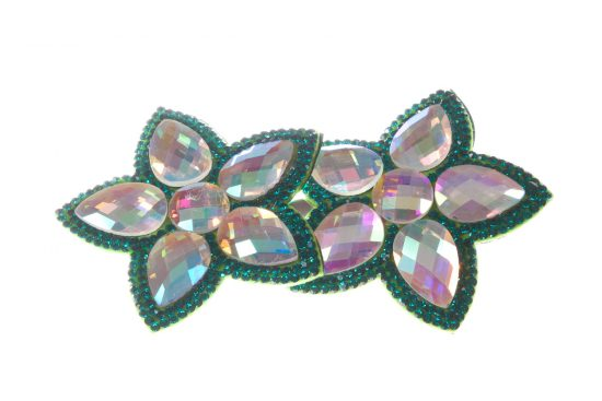 Double Bella Flower Clip Green