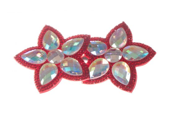 Double Bella Flower Clip Red