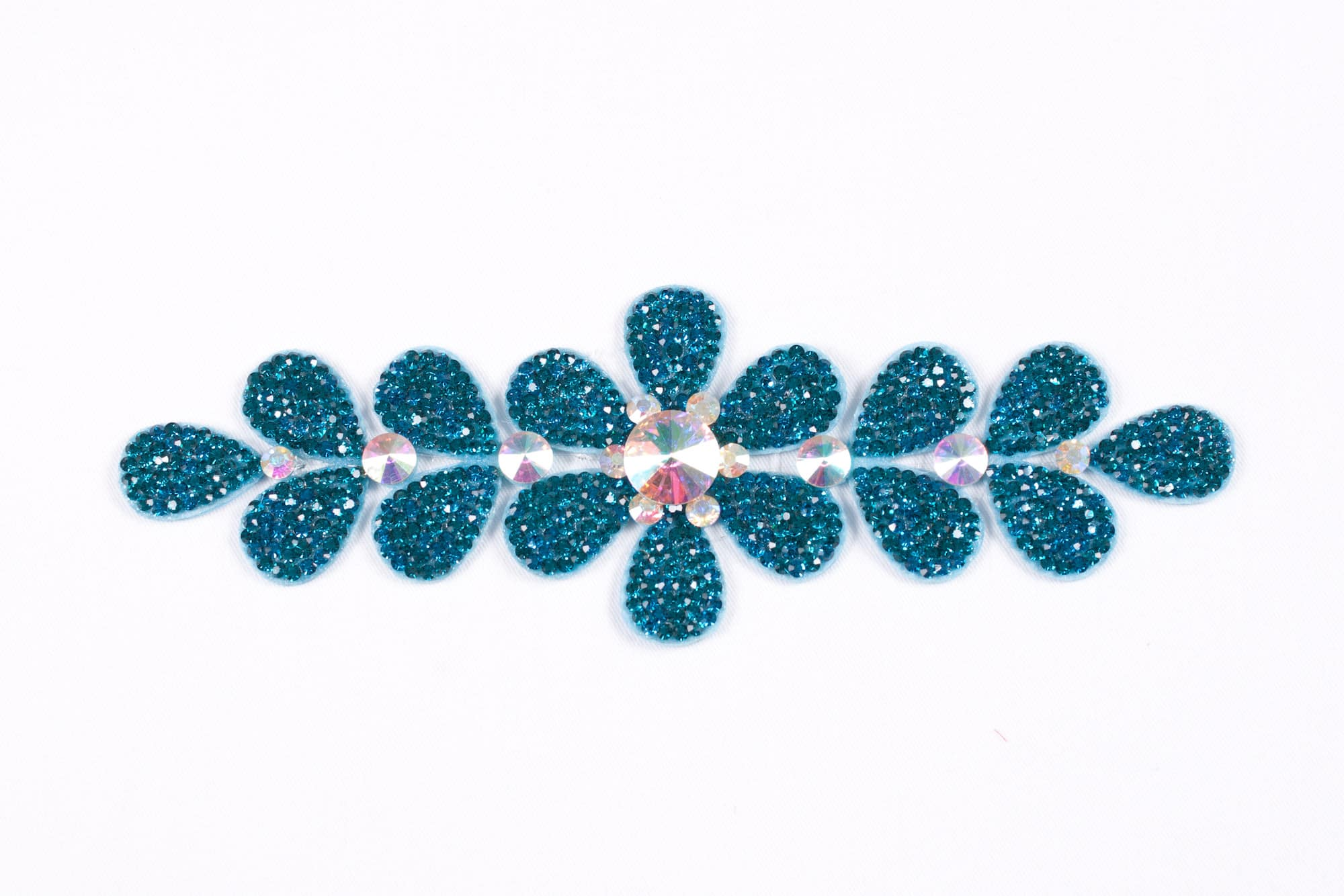 Flower Strip Peacock Blue