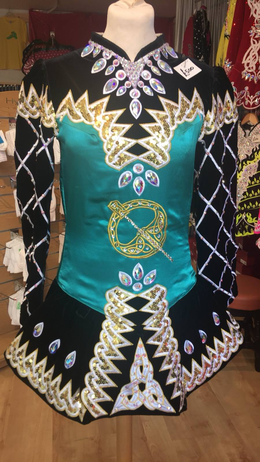 Black, Green and Gold Dress front