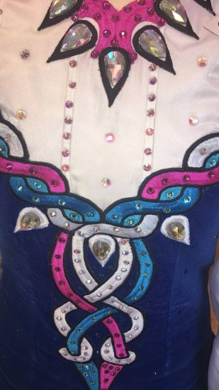 Blue, White and Pink Dress detail