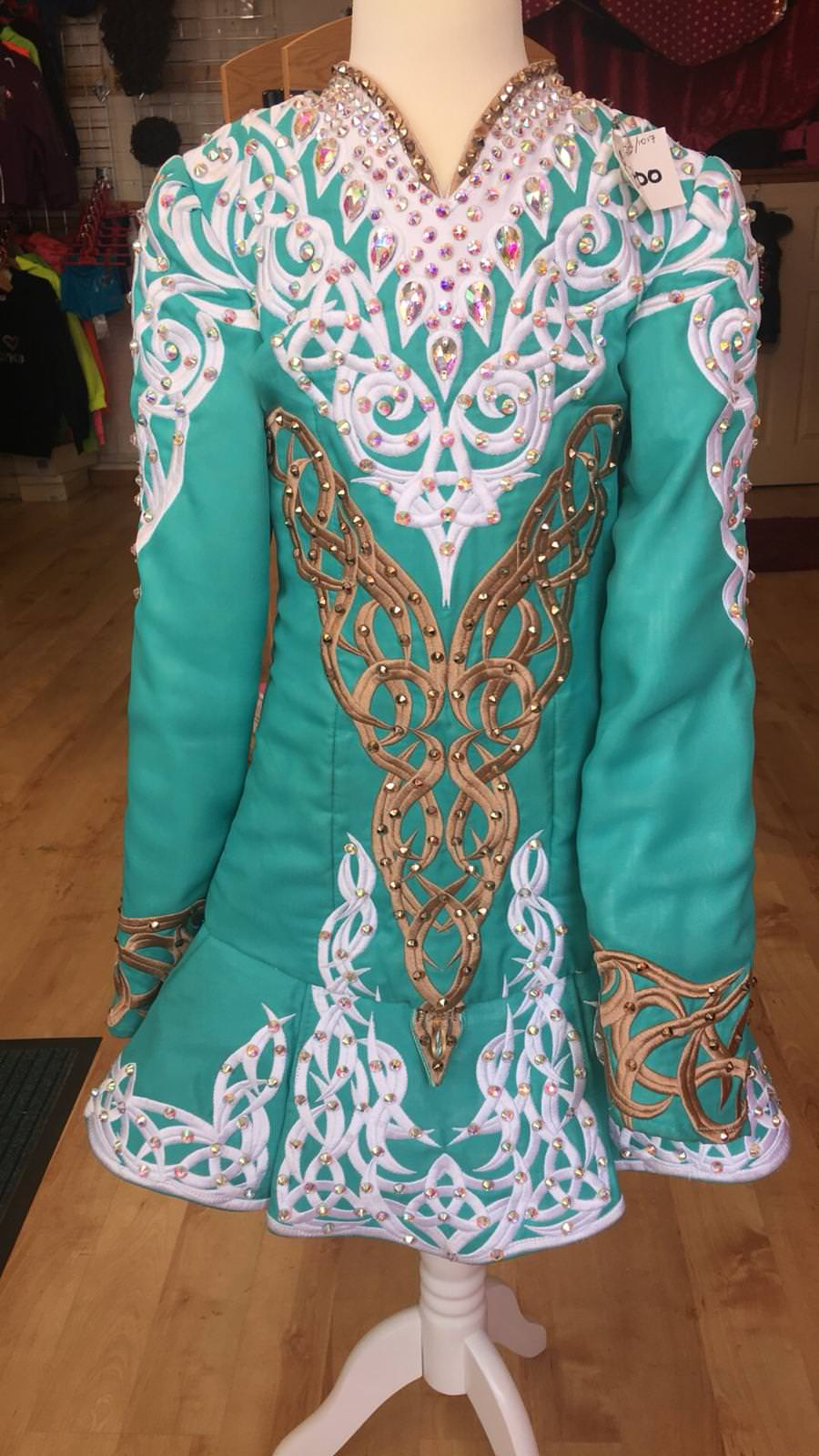 Green, White and Gold Dress