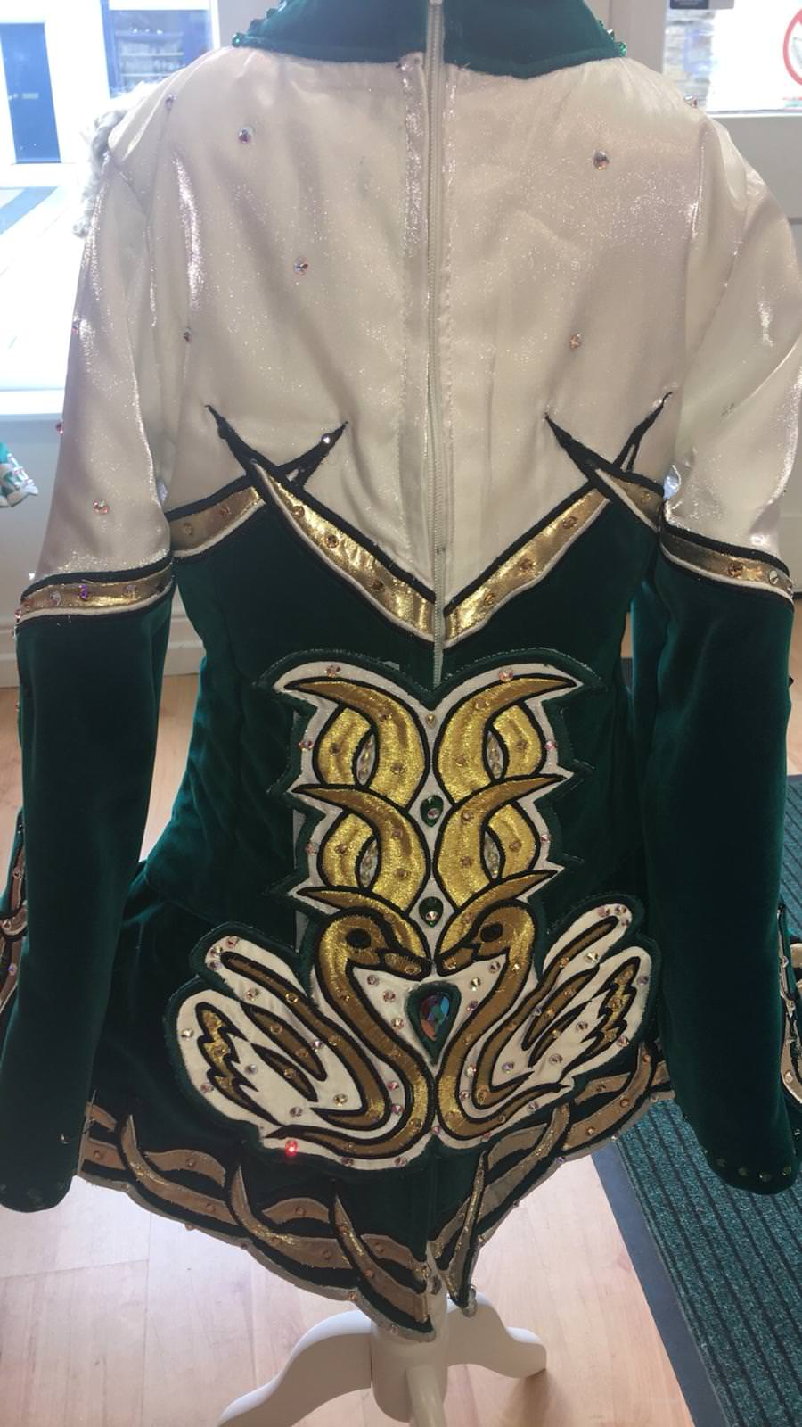 Green, White and Gold Dress back