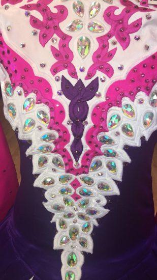 Purple, White and Pink Dress back