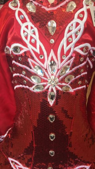 Red and White Dress detail