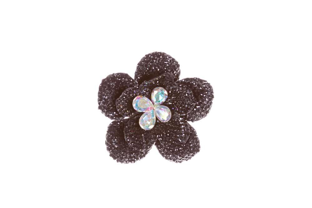 Round Flower Single Black