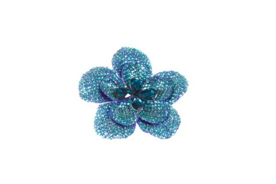Round Flower Single Peacock Blue