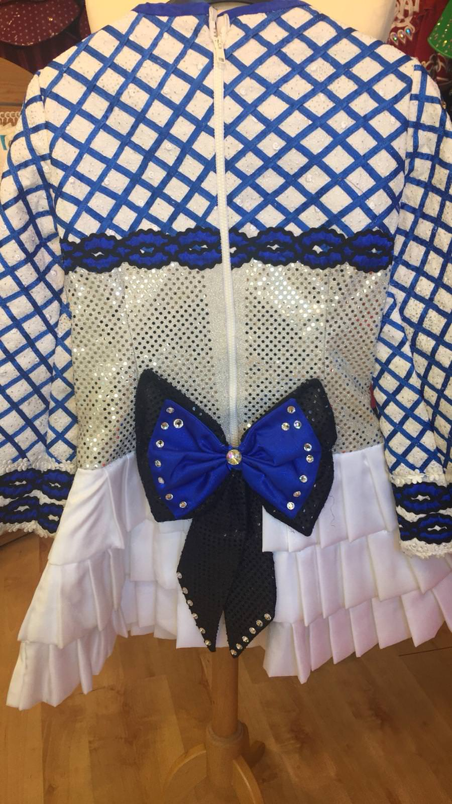 White, Blue and Black Dress